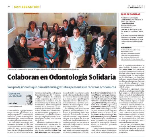 Odontologia Solidaria Diario Vasco 15-04-16 Dr Ruiz Villandiego Dentista Donostia San Sebastian