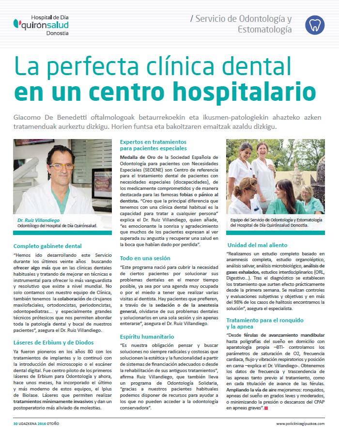 la perfecta clinica dental en un centro hospitalario OTOÑO 2016 revista policlinica gipukoa 38 doctor ruiz villandiego dentista donostia san sebastian hospital quiron